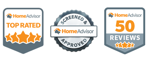 Home Advisor badges - Top Rated, Approved, 50 5-Star Reviews